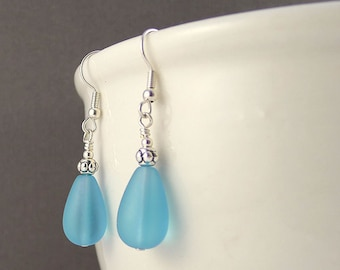 Blue sea glass earrings sea glass jewelry seaglass earrings seaglass jewelry handmade jewelry handmade earrings blue beaded earrings gift