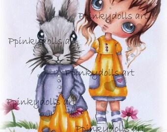 INSTANT DOWNLOAD Digital Digi Stamps..by Chrishanthi's art,Mrs.Rabbit''