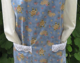 Vintage Floral  and Lace Canning Apron-Size Large