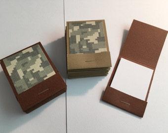 20 Matchbook Notepads Matchbook Favors - Camo, Handmade