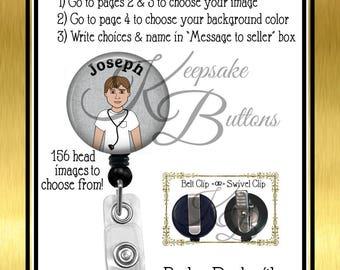 Custom Male Nurse Badge Reel, Custom Badge Reel, Retractable Badge Reel, Custom Medical Badge Reel, Nurse Gift, Coworker Gift, BRM024