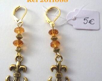Earrings Golden amber Fleur de lis / 2011088