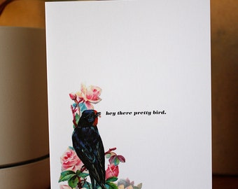 Greeting card : Hey there pretty bird.