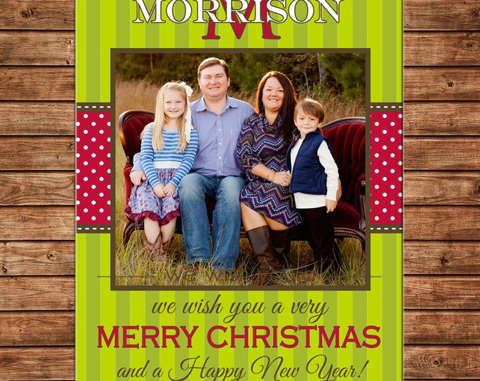 Christmas Holiday Photo Card Monogram Stripe - Can Personalize - Printable File or Printed Cards