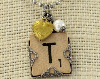 Wooden Scrabble Tile Initial Pendant Necklace. Personalize accents and letters. Long Adjustable Chain. Butterfly Flower Heart Pearl