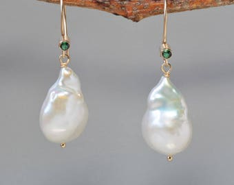 Large Baroque Pearl Earrings in Gold, White Baroque Pearl Dangle Earrings, Wedding Pearls for Bride, Gift for Mother of the Bride