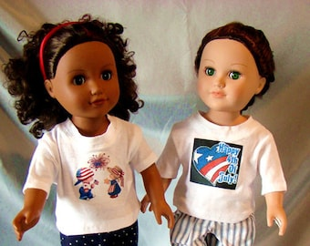 July 4th T-Shirts and Shorts 18 inch Doll Outfit; for American Girl or Boy Style Dolls! School n Dress Up Doll Clothes.
