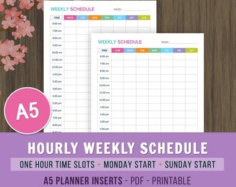 A5 Weekly Schedule Planner, A5 Planner Inserts, Weekly Agenda, Weekly Planner Printable, Weekly Organizer, Planner Printable, Weekly Planner