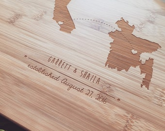 Map Cutting Board, State Cutting Board, Custom Cutting Board, Personalized Chopping Board, Long Distance Gift, Traveling Couple Gift