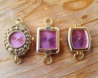 Purple Beading Watch Faces with rings, Watch Jewelry, Watch Making, Geneva Watches, Gold plated watch face, Purple Jewelry, Plum Watch Face