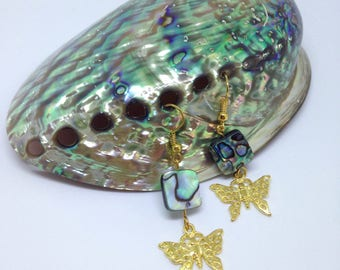 Butterfly earrings with abalone/paua shell