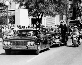 President John F. Kennedy Shows Evidence of Being Shot on Elm Street in Dallas on November 22, 1963 - 5X7, 8X10 or 11X14 Photo (AA-822)