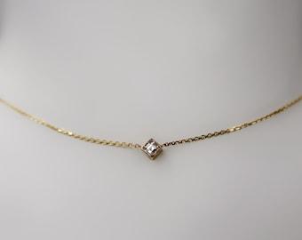Delicate Square Diamond Necklace