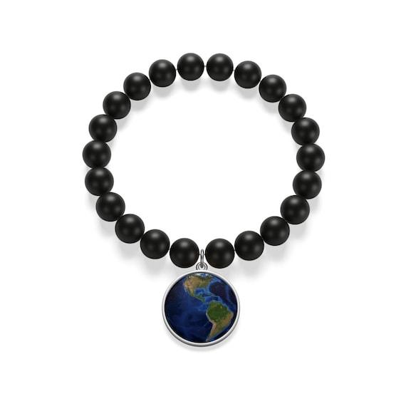 World Map With Dark Blue Ocean Matte Onyx Bracelet