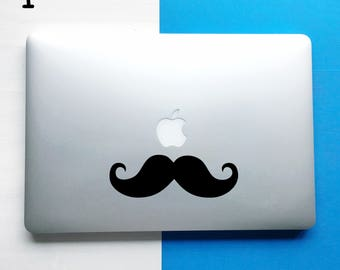 Moustache Laptop Sticker, Mustache Laptop Decal, MacBook decal, Laptop Decal, Computer Decal, Removable Decal, Window decal, Quote Decal