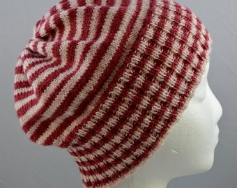Striped Slouchy Hat, Red & White Striped Beanie, Slouchy Beanie,  Light Weight Wool Hat, Gender Neutral, Striped Cap