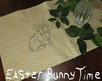 Easter Bunny Table Runner, Easter Holiday Table Runner with A Embroidered Easter Bunny, 20 X 11, Center Piece Table Runner, Easter Decor