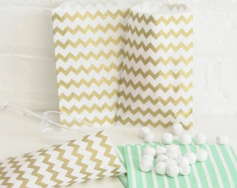 Gold Chevron Paper Bags Party Accessory for Wedding Favours, Children's Party Bags and Gifts