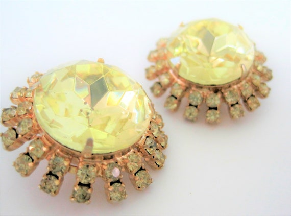 Yellow Cabochon Earrings, Faceted Citrine Glass,  60's Dome Shaped, Rhinestone Surround, Clip On Earrings