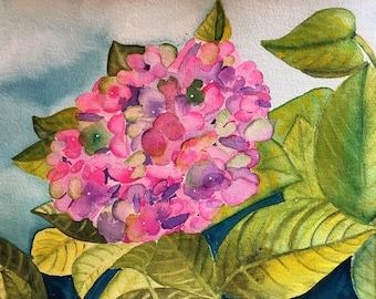 Hydrangea Painting Floral Painting Watercolor Painting Flower Art  ORIGINAL art Botanical Art Office Decor Housewarming Gift Cubicle Art