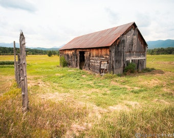 Barn on Hwy 86 - Old Barn, Rustic, Landscape, Color Photography Adirondacks New York Fine Art Print