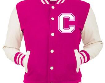 Personalized Pink Varsity Jacket, Base Ball Jacket, Letterman Jacket Pink & White - Custom Letter C