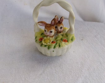Vintage Porcelain Lefton Bunny Rabbits in a Basket Figurine  Easter Spring