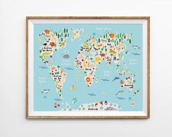 World map for kids etsy spanish animal world map 8 x 10 in 11 x 14 in 20 gumiabroncs Image collections
