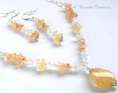 Pastel Yellow Beaded Jewelry Set Women's Glass Jewelry Spring Jewelry Womens Gift for Her Wedding Graduation Gift Summer Necklace Set
