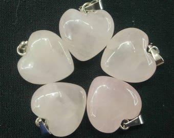 50pcs/lot - Natural Rose Quartz Heart Pendant 15mm - silver bail