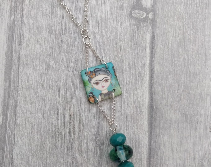 Blue Frida Statement Necklace, Frida Pendant