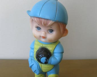 Vintage Rubber squeeze toy -BASEBALL PLAYER /CATCHER -First Years -squeak toy -Kiddie Products Inc- Avon Mass -nursery decor- baby toy