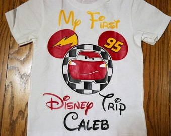 "Disney Cars inspired ""My first Disney Trip"" shirt; Custom Disney Cars Mickey tee; Lightening McQueen shirt; Boy's disney vacation shirt"