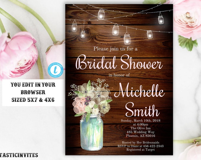 Rustic Floral Bridal Shower Invitation Template, Printable Rustic Bridal Shower Template, Spring Bridal Shower Invitation, Floral Invite,DIY