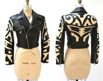 Vintage Black Leather Motorcycle Jacket Michael Hoban North Beach Tribal// 90s Leather Biker Jacket Black size Small Medium