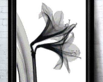 Whimsical Modern Lily Flower in Black and White Counted Cross Stitch Pattern - PDF Digital Download