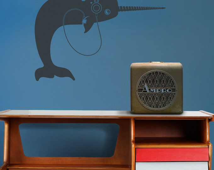 narwhal with headphones wall decal, narwhal sticker, iPod, music wall art, earphones, gift for music lover, narwhal meme