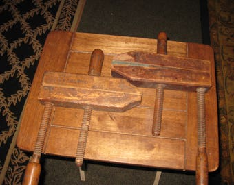 """ANTIQUE WOODEN CLAMPS Dowel Clamps Spres Dowel Mfg. Grand Rapids Michigan and A.G. Archer Love And Co. Measure 10"""" x 17"""" and 10"""" x 16"""""""