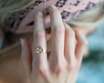Mountain Ring; gold or silver mountain ring; mountains are calling; mountain jewelry; mountain range ring; Silver and brass mountain ring