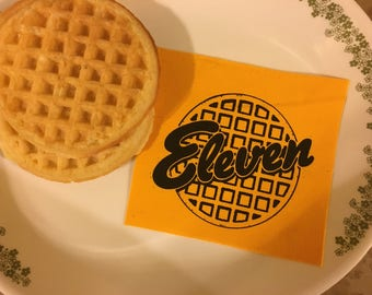 Eleven stranger things eggo waffle 80s pop culture 011 canvas screen printed patch