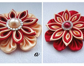 Satin Flower Hairclip/Hairclip with red and beige Kanzashi Flower/Satin Hair accessory/Up to 160 Custom Colors