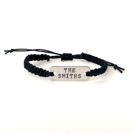 The Smiths stamped bracelet // macrame hemp bracelet