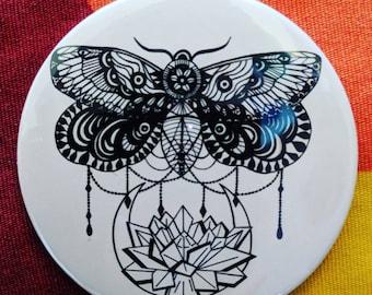 Lily Moth Amaryllis Pocket Mirror 78mm