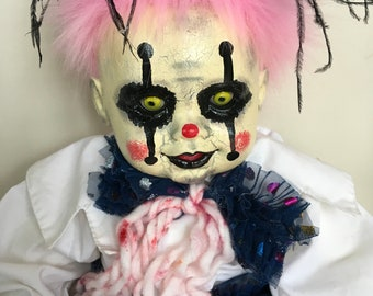 Creepy clown doll. Halloween prop. OOAK art doll