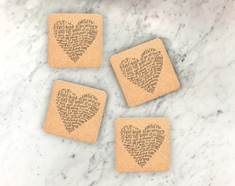 25 Cork Coaster Set, Engraved Coaster, Wedding Favor, Personalized Coasters, Custom Engraved Wedding Coasters, Party decor --22108-CST2-029