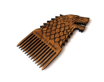 Game of Thrones Stark Wolf Wooden Beard Comb Winter is Coming Wooden Mustache Comb For Him Fathers Day Men Gift for Him Husband Friend Gift