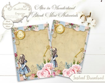 Alice in Wonderland Blank Notecards - Journal - ATC - Wonderland Tags - Printable - INSTANT DOWNLOAD - Scrapbooking - Craft