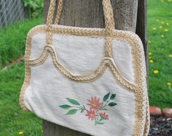 Vintage Natural Woven Painted Flower Purse