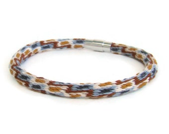 Unisex southwest design, 40 strand, woven friendship kumihimo bracelet with stainless steel magnetic clasp
