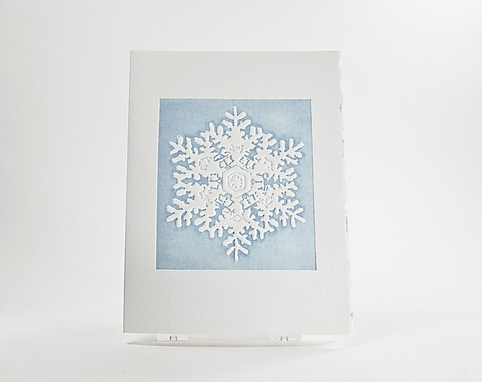 Rainier Snowflake Holiday Card. Christmas card. Embossed. Letterpress. Foil. Notecard. Single card. Blank or Season's Greetings inside.